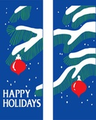 "Tree Branches and Ornaments Light Pole Banner 30"" x 60"""