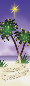 "Palm Tree Seasons Greetings Light Pole Banner 30"" x 94"""