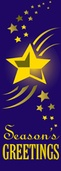 "Purple Star Season's Greetings Light Pole Banner 30"" x 84"""