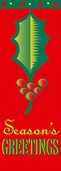 "Season's Greatings Holly Leaf Light Pole Banner 30"" x 84"""