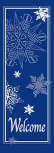 "Welcome with Snowflakes Light Pole Banner 30"" x 84"""