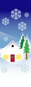 "Winter House Scene Light Pole Banner 17"" x 49"""