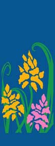 "Yellow and Pink Flowers Light Pole Banner 17"" x 36"""