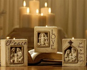 Polystone Religious Candle Holders - Set of 3