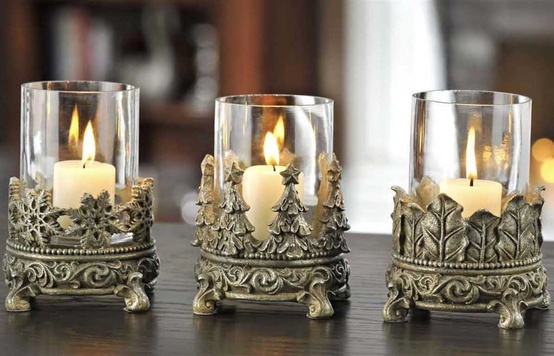 Decorative Glass Candle Holders - Set of 3