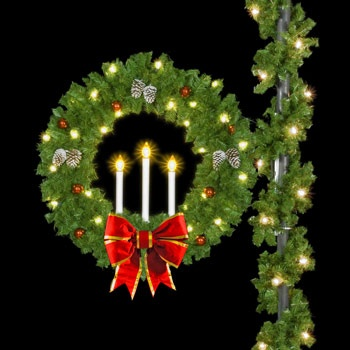 "50"" Candle Wreath with 18"" Red and Gold Nylon Structural Bows, Pole Mount"