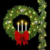 "36"" Candle Wreath with 18"" 3-D Red Velvet Structural Bow, Pole Mount"