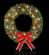 6' Deluxe Rocky Mountain Pine Hanging Wreath, Clear Lamps