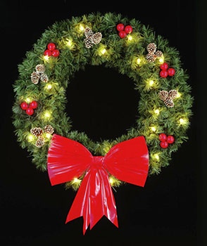 4' Rocky Mountain Pine Wreath, Building Front, Clear Lamps