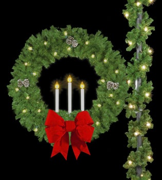 "50"" Triple Candle Wreath with 18"" 3-D Velvet Bow Pole Mount"