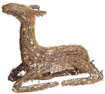 "24"" Grapevine Sitting Fawn, 100 Clear Lamps"