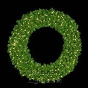 "36"" Pre-Lit Mountain Pine Wreath, 150 Clear Lights, Wall Mount"