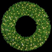 12' Mountain Pine 3-D Wreath with 210 C7 Lights, Building Mount