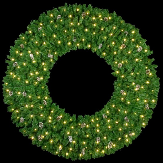 8' Mountain Pine 3-D Wreath with 120 C7 Lights, Building Mount