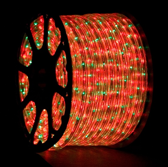 "150' Red, Green Chasing Rope Light, 3 Wire 1/2"", 120 Volt"