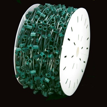 "1000' C9 Commercial Light Spool, SPT2 Green Wire, 15"" Spacing"