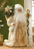 "17"" Gold and Ivory Santa Tree Topper"