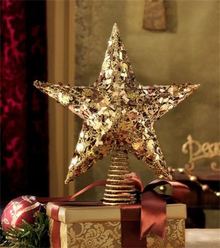 "12"" Gold Star Tree Topper"