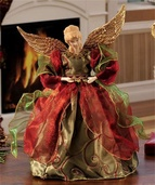 "12"" Red and Green Porcelain Angel Tree Topper"