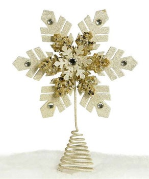 "12"" Glittered Snowflake Tree Topper"