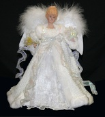 "14"" White Fiber Optic Angel Tree Topper"