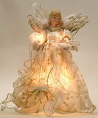 "14"" Ivory Gold Fabric Angel Tree Topper"