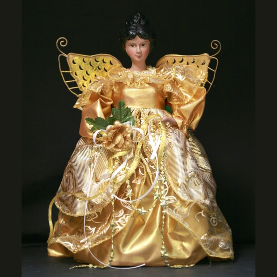 "12"" Gold African American Angel Tree Topper"