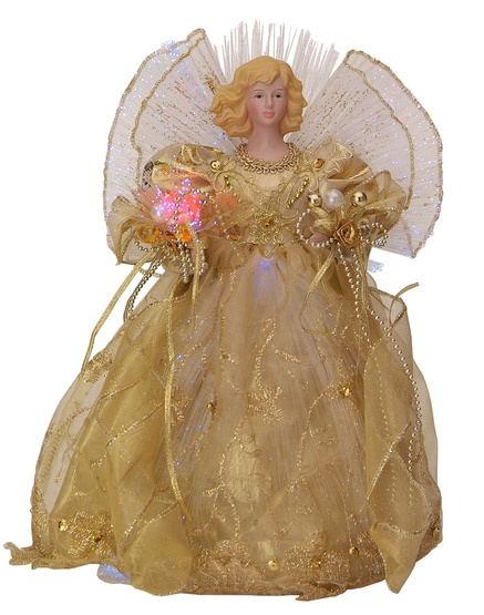 "12"" Gold LED Fiber Optic Angel Tree Topper"