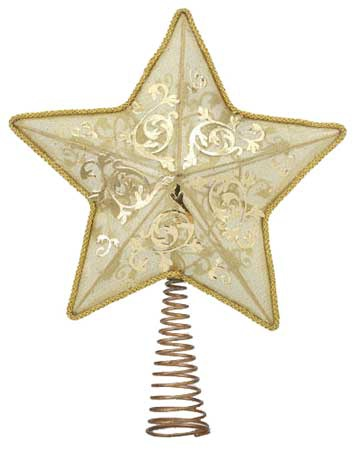 "14"" Gold Star Tree Topper, 10 LED Lights"