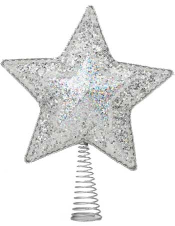 "14"" Silver Star Tree Topper, 10 LED Lights"