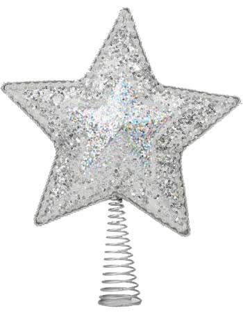 "14"" Silver Star Tree Topper, 10 LED Lights"