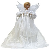 "14"" White Fabric Angel Tree Topper"
