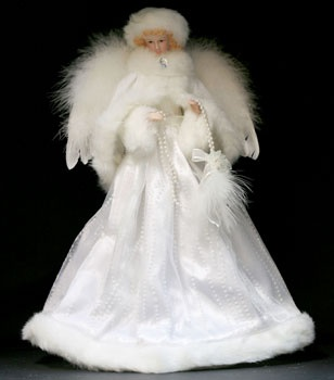 "16"" White Porcelain Angel Tree Topper"
