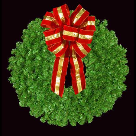 "36"" Unlit Mountain Pine Wreath with 16"" Red and Gold Puff Bow, Wall Mount"
