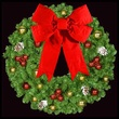 "48"" Unlit Mountain Pine Deluxe Wreath with 24"" 3-D Red Velvet Structural Bow and Red and Gold Ornaments, Wall Mount"
