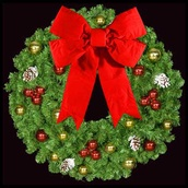 "36"" Unlit Mountain Pine Deluxe Wreath with 18"" 3-D Red Velvet Structural Bow and Red and Gold Ornaments, Wall Mount"