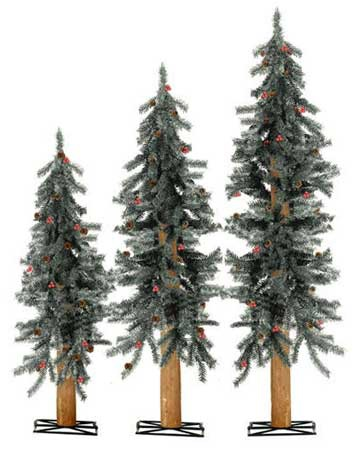 2-3-4 Ft Unlit Frosted Berry Alpine Tree Trio