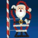 5' X 2.5' Silhouette Santa, Pole Mount, Clear Lamps