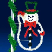 5' X 3' Silhouette Snowman, Pole Mount, Clear Lamps
