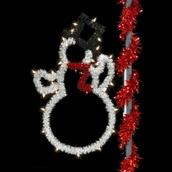 5' Unlit Sparkling Snowman Pole Mount