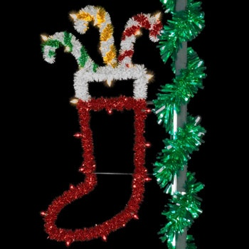 5' Unlit Sparkling Stocking Pole Mount
