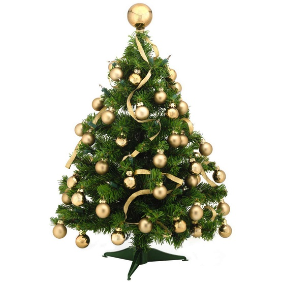 2' Douglas Fir Pre-Decorated Table Top Tree, 35 Clear Lamps, Gold Ornaments