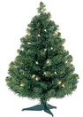 2' Douglas Fir Table Top Tree, 35 Multicolored Lamps