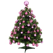 2' Douglas Fir Pre-Decorated Table Top Tree, 35 Clear Lamps, Pink Ornaments