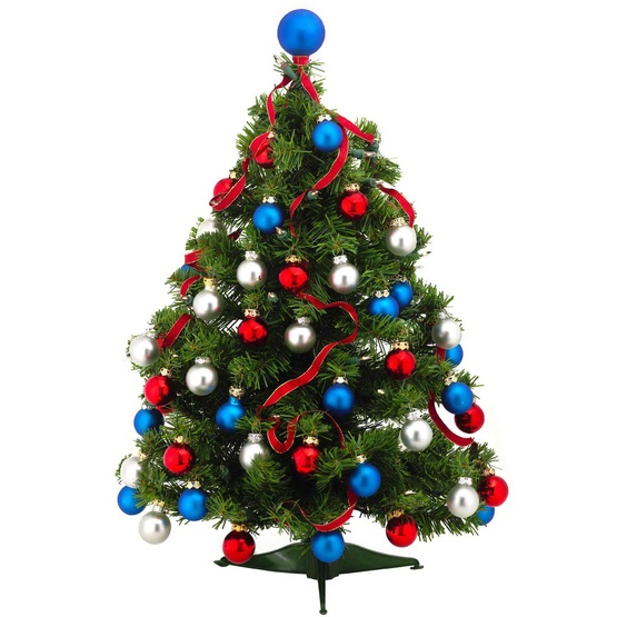 2' Douglas Fir Pre-Decorated Table Top Tree, 35 Clear Lamps, Red, White & Blue Ornaments