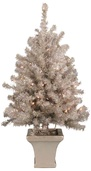 3' Potted Silver Laser Table Top Tree, 70 Clear Lamps