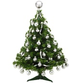 2' Douglas Fir Pre-Decorated Table Top Tree, 35 Clear Lamps, Silver Ornaments