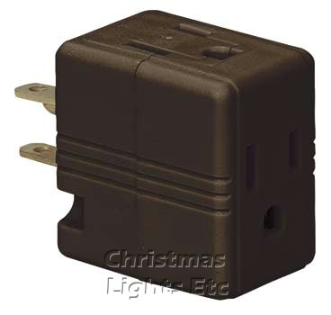 Single Receptacle to Three Outlets - Brown (Grounding - 3 Prong)
