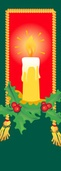 "Candle with Holly Light Pole Banner 30"" x 84"""