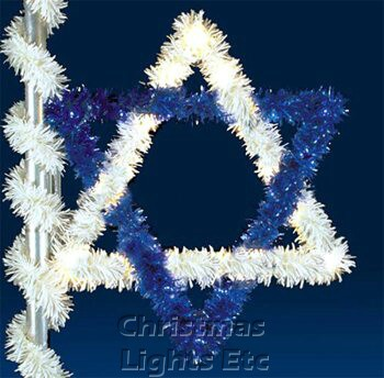 6' Star of David, Pole Mount, Blue and Clear Lamps